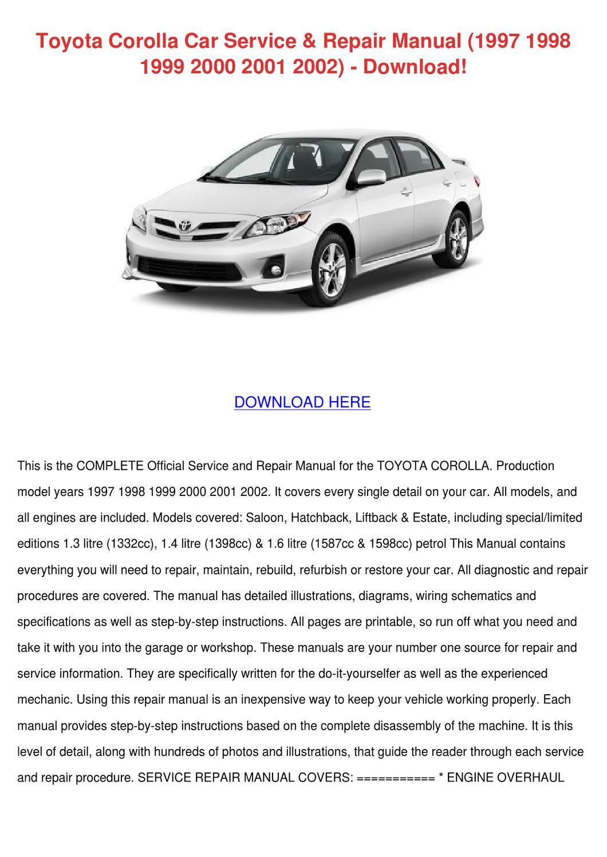 Toyota Corolla Car Service Repair Manual 1997 by GayErickson - issuu