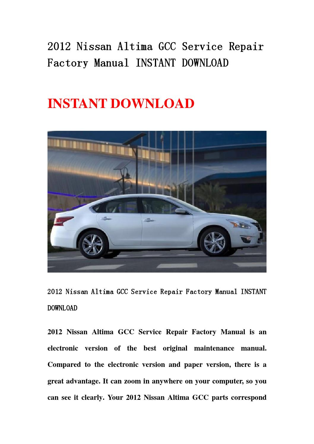 2012 nissan altima gcc service repair factory manual instant download by  kaimen - issuu