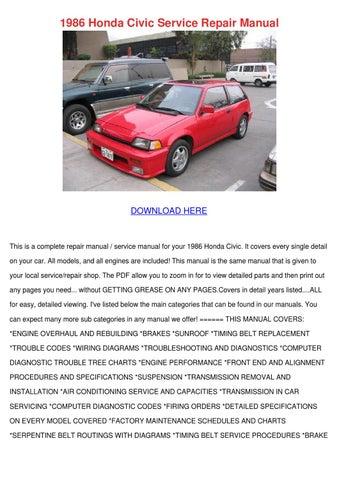 1986 Honda Civic Service Repair Manual by DanaCarvalho - issuu