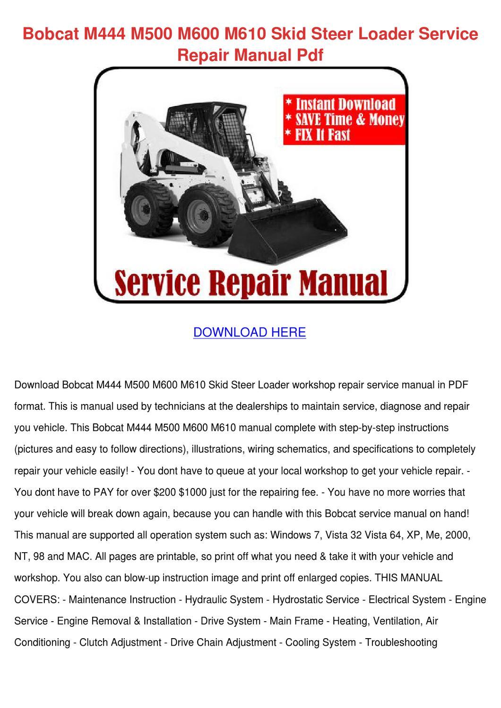 25+ Bobcat 610 Repair Manual Pics - FreePix