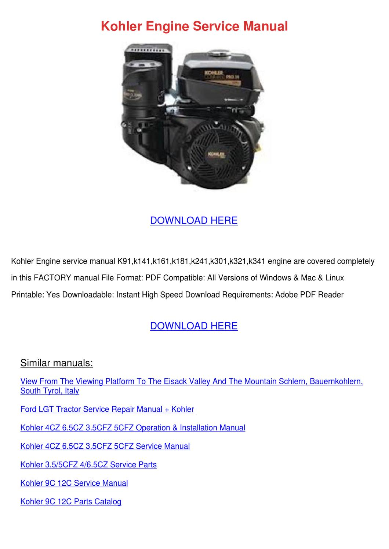 Kohler TP-2337-A Service Manual Command 5-6 HP NOS