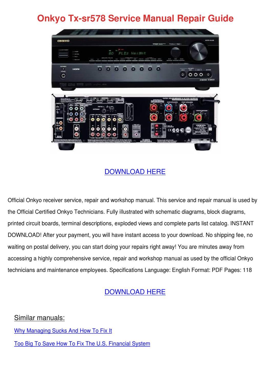 Onkyo Tx Sr578 Service Manual Repair Guide By Bradleybarnhill Issuu Electronic Circuit Board Pdf