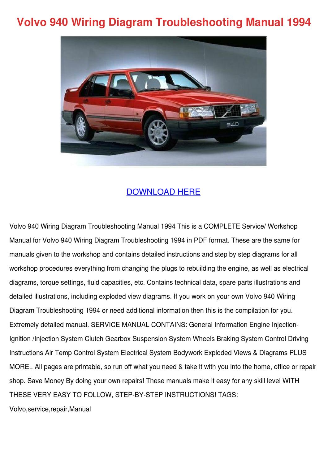 Volvo 940 Wiring Diagram Troubleshooting Manu By Lawerencekruger Issuu