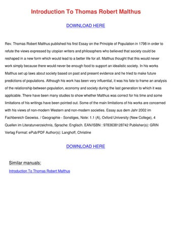 robert malthus essay on populations A short bibliography about malthus thesis on population with a environmental history resources malthus, thomas robert, an essay on the principle of.