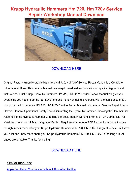 ... Array - krupp hydraulic hammers hm 720 hm 720v servic by owenoneal  issuu rh issuu com Array - apple service manual ...