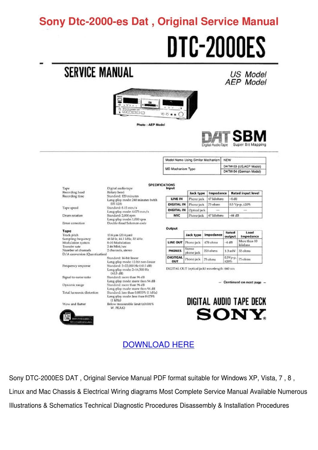 Sony Dtc 2000 Es Dat Original Service Manual by AlexandriaWilber ...