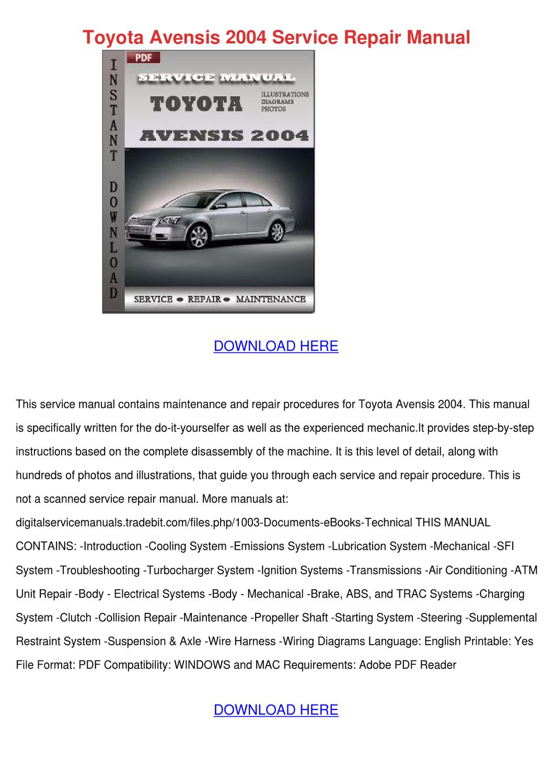 Toyota Avensis 2004 Service Repair Manual By