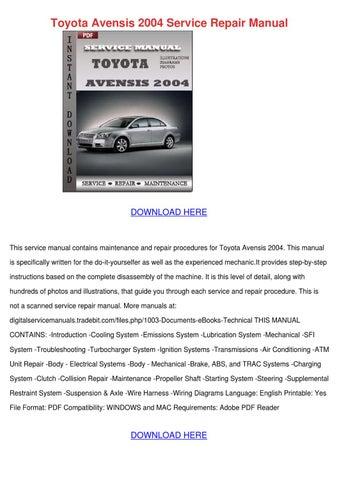 toyota avensis manual download