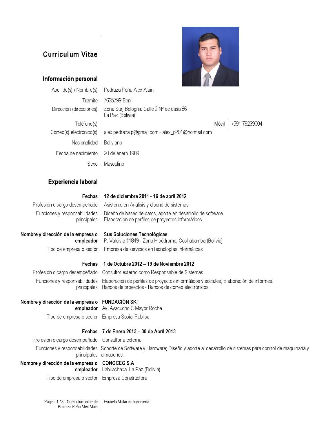 Curriculum Alex Alain Pedraza Peña by Alex Pedraza - issuu