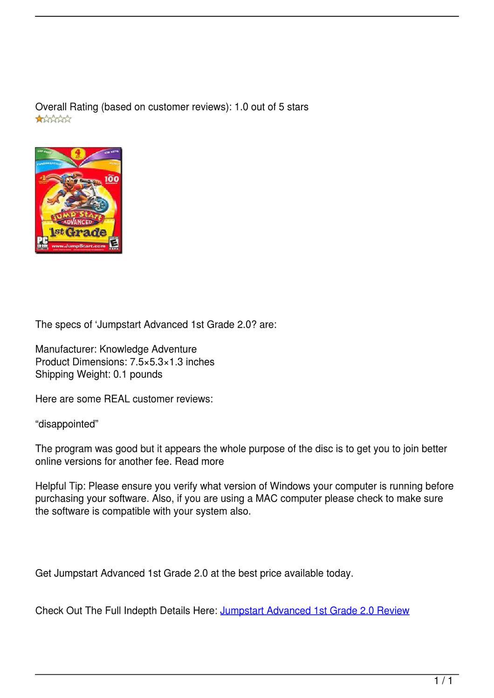Jumpstart Advanced 1st Grade 2 0 Review by hooperd3 - issuu