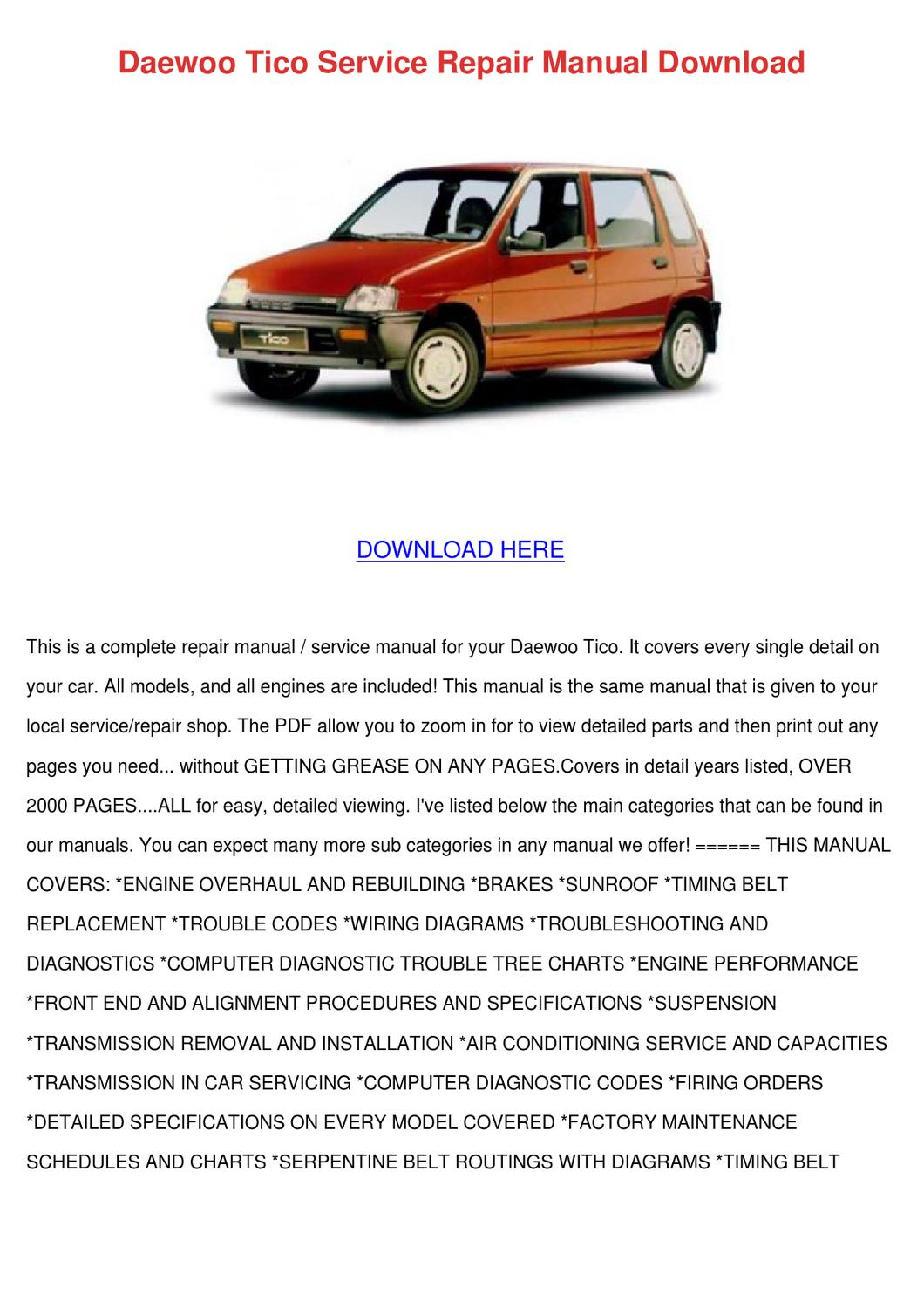 Daewoo Tico Service Repair Manual Download By Byronberube7 Issuu