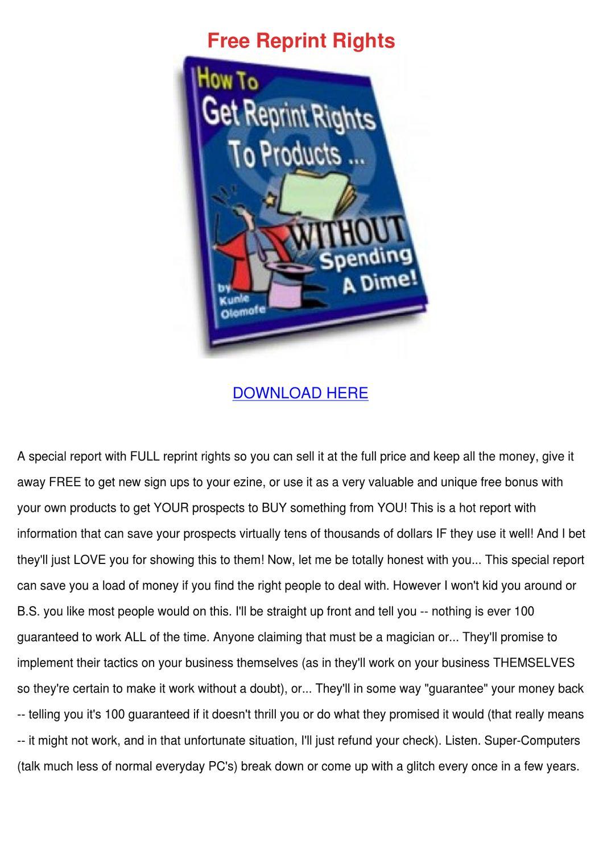 free articles or reviews having reprint rights