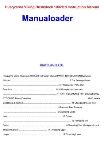 Husqvarna Viking Huskylock 1002lcd Instructio by BrookeBeasley3 ...