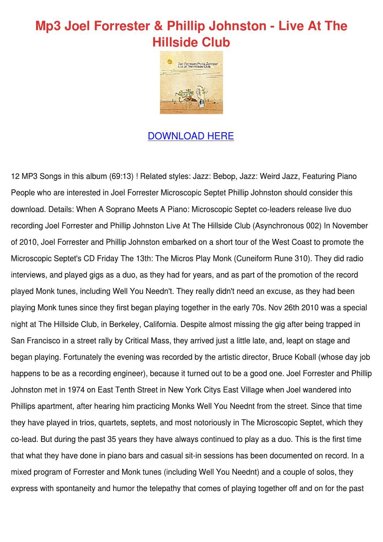 Mp3 Joel Forrester Phillip Johnston Live At T by