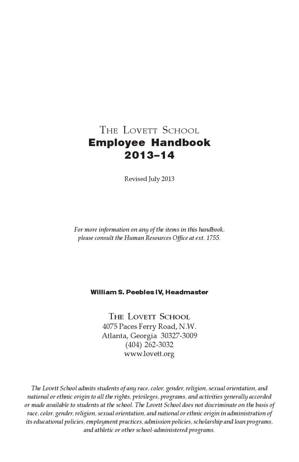 2013 14 employee handbook by the lovett school issuu fandeluxe Image collections