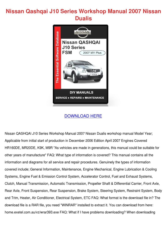 Nissan Qashqai J10 Series Workshop Manual 200 by TawannaSlattery2 ...