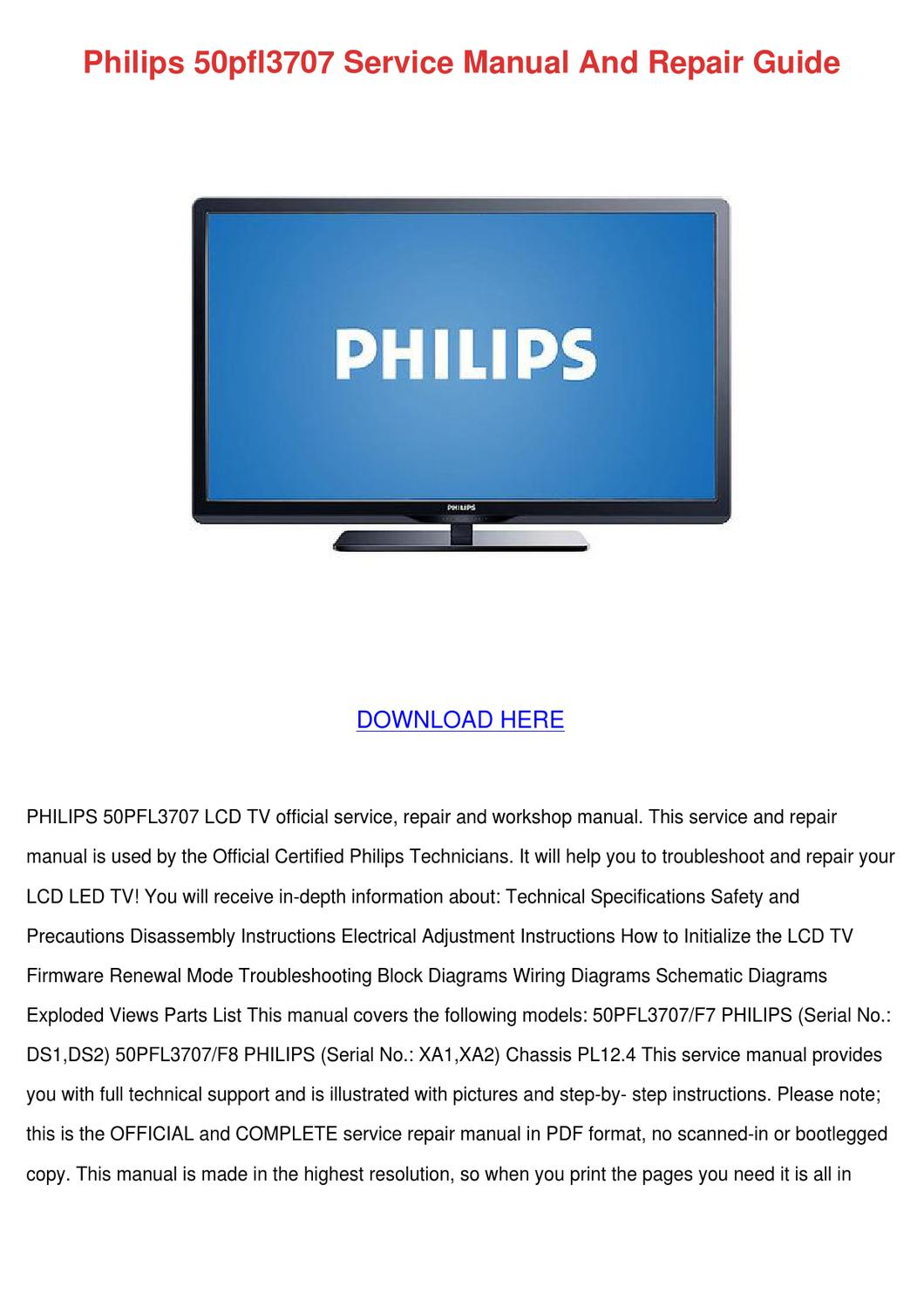 Philips 50pfl3707 Service Manual And Repair G by TonySpencer4 - issuu
