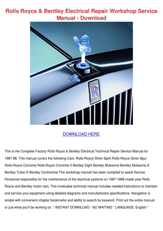Rolls Royce Bentley Electrical Repair Worksho By Tonyspencer4 Issuu Continental Wiring Diagram