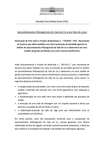 c15016216 Deputado Paulo Batista Santos (PSD). Aproveitamento Hidroagrícola do Vale  do Lis e do Vale do Lena. Declaração de Voto sobre o ...
