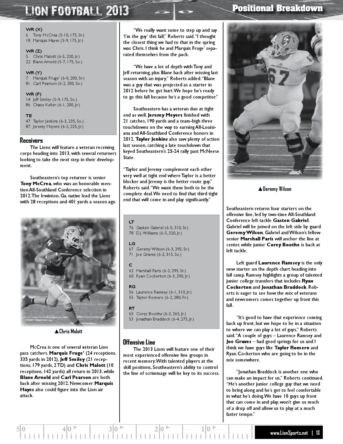 2013 Southeastern Louisiana Football Media Guide by