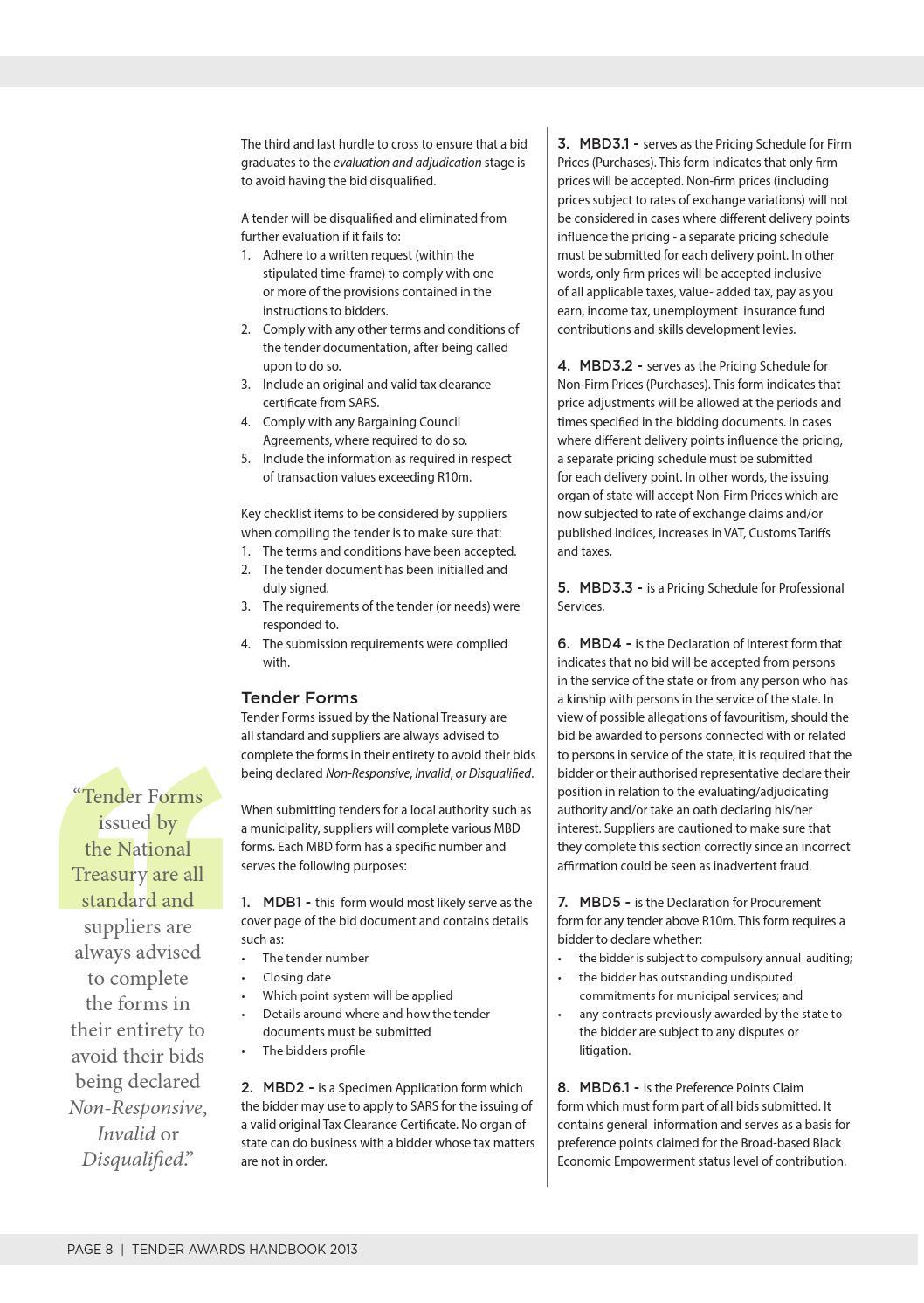 Tender Evaluation Form