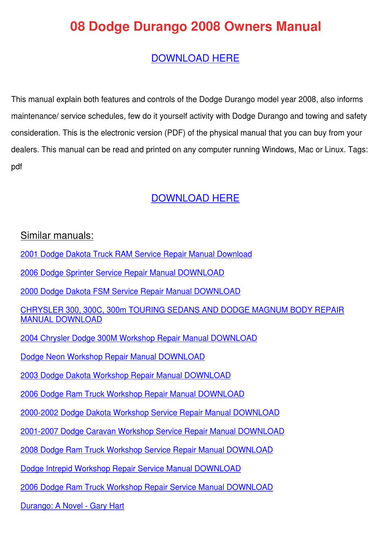 08 Dodge Durango 2008 Owners Manual By Doreencoyle