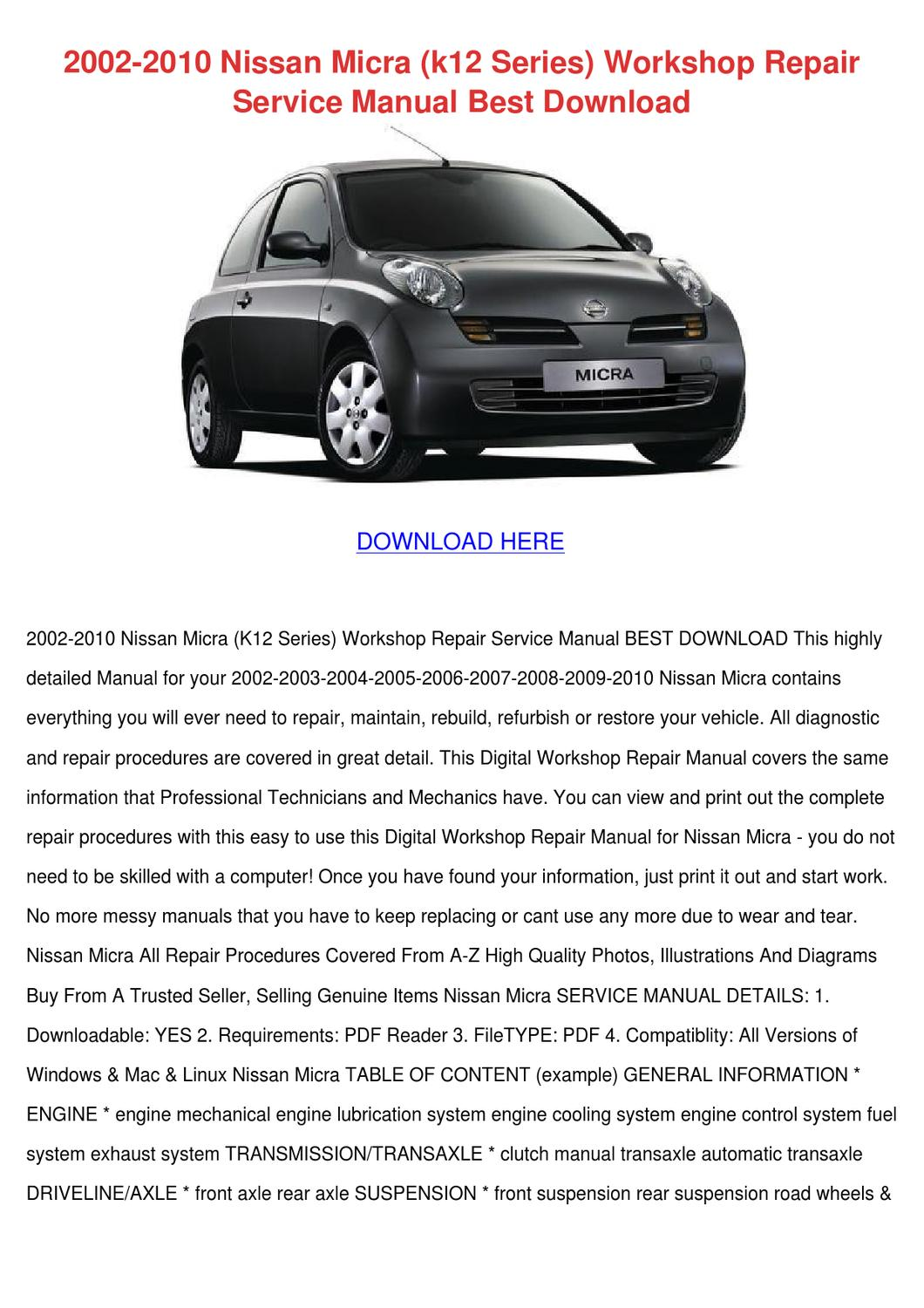 2002 2010 Nissan Micra K12 Series Workshop Re By Doreencoyle Issuu Manual Transmission Clutch Diagram Xterra Replace A