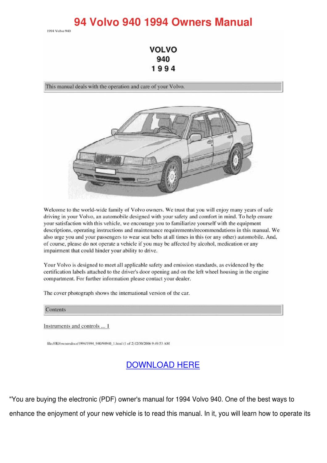 94 Volvo 940 1994 Owners Manual by ElaineCavazos - issuu