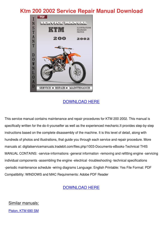 Ktm 200 2002 Service Repair Manual Download by DiegoCordell - issuu