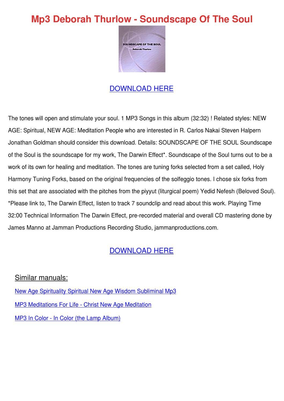 Mp3 Deborah Thurlow Soundscape Of The Soul by