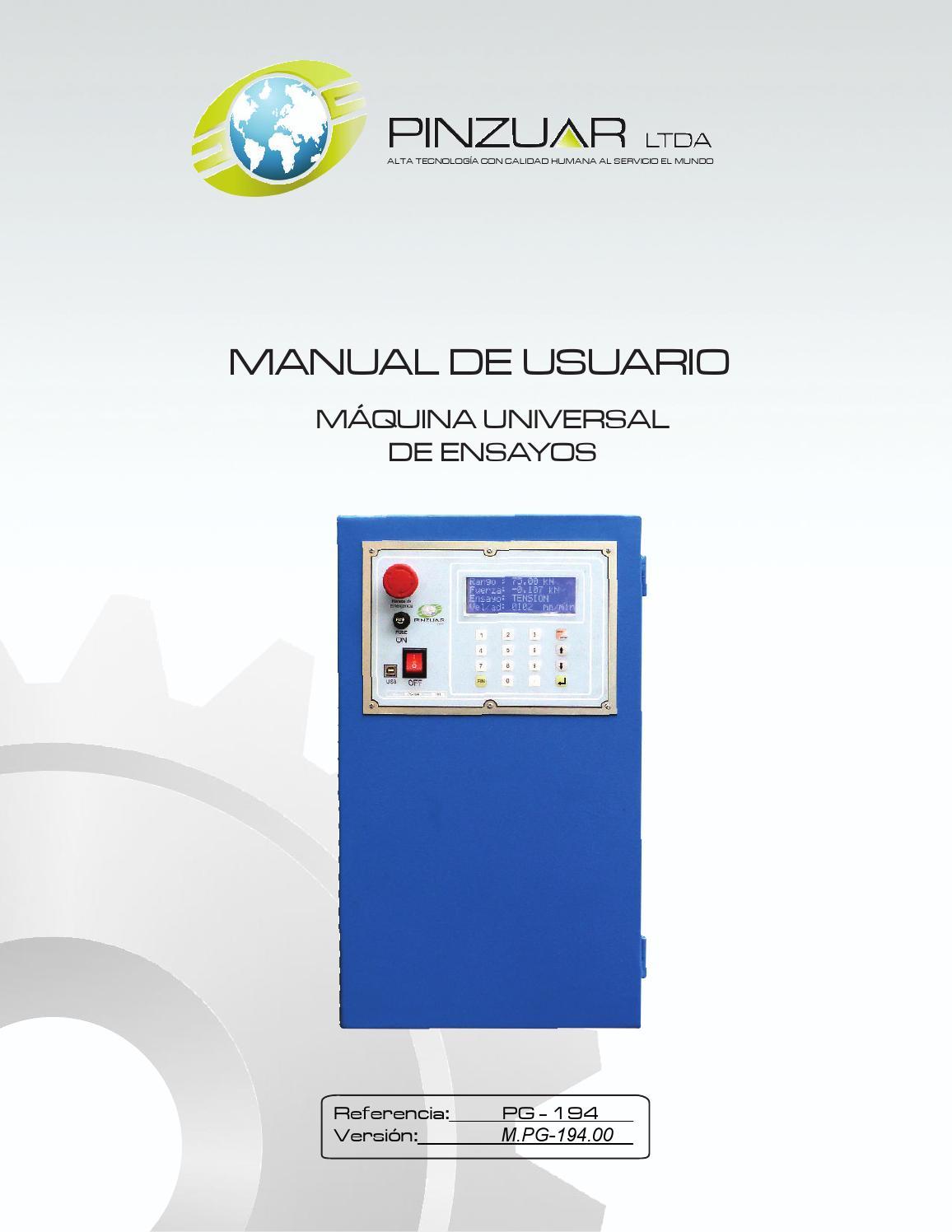 Manual Máquina universal de ensayos Ref pg 194 by Publicidad Pinzuar ...