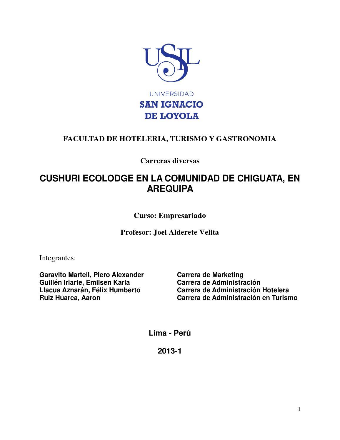 PROYECTO DE INVERSION - ECOLODGE TURISTICO EN AREQUIPA by Aaron Ruiz ...