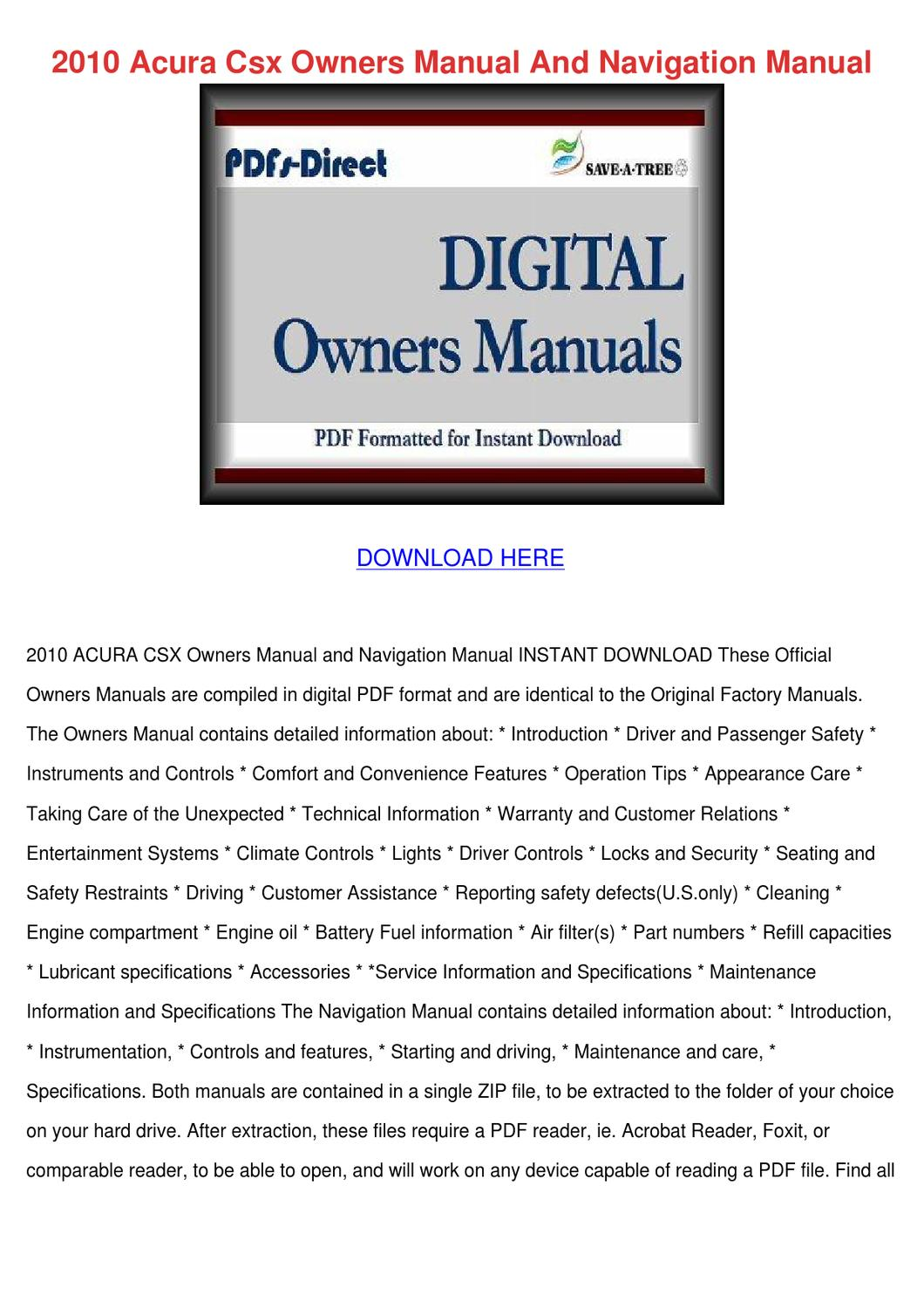 2010 acura csx owners manual and navigation m by. Black Bedroom Furniture Sets. Home Design Ideas