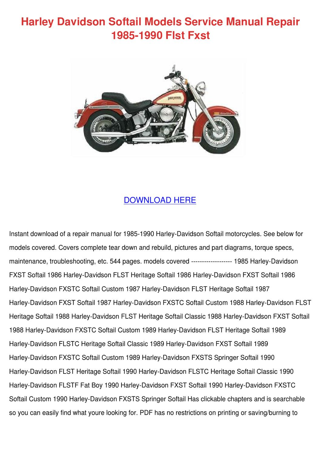 Harley Davidson Softail Models Service Manual By -6369
