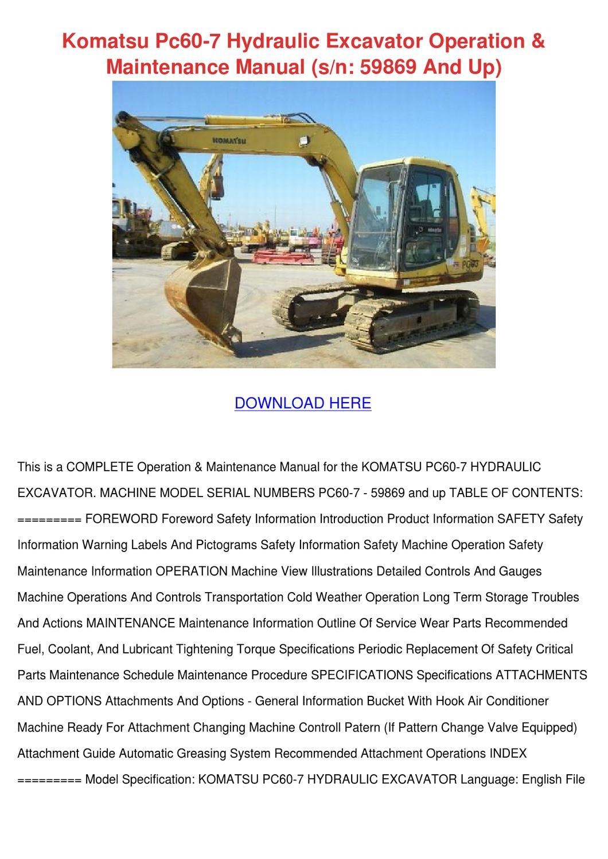 Komatsu Pc60 7 Hydraulic Excavator Operation by KareemGomez