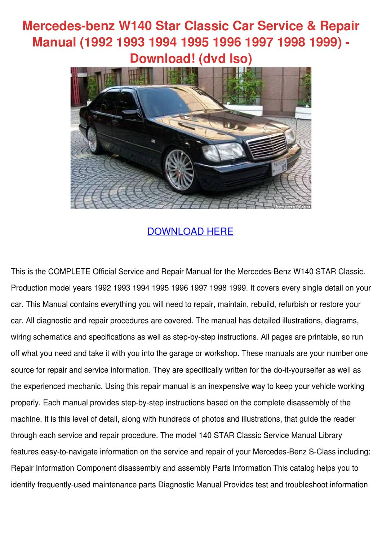 Mercedes Benz W140 Star Classic Car Service R by KareemGomez - issuu