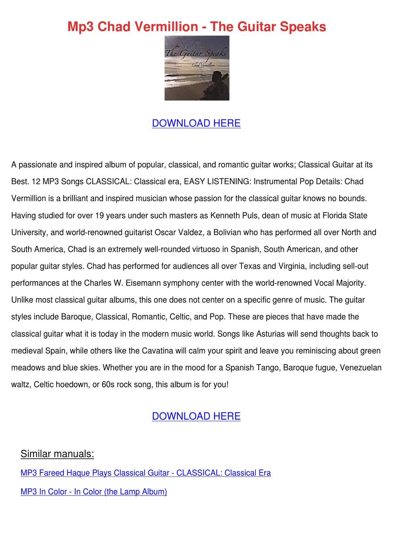 Mp3 Chad Vermillion The Guitar Speaks by KirstenHenke - issuu
