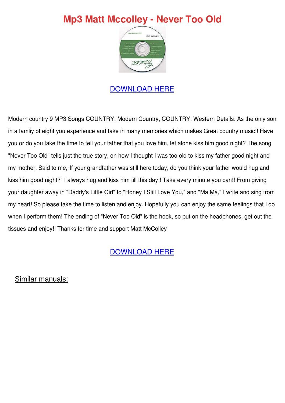 Mp3 Matt Mccolley Never Too Old by KirstenHenke - issuu