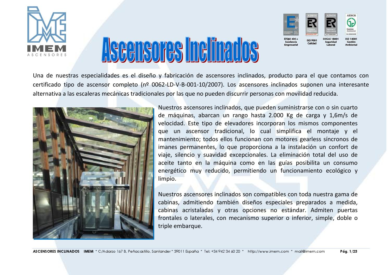 Ascensores inclinados imem by marian issuu for Ascensores unifamiliares sin mantenimiento