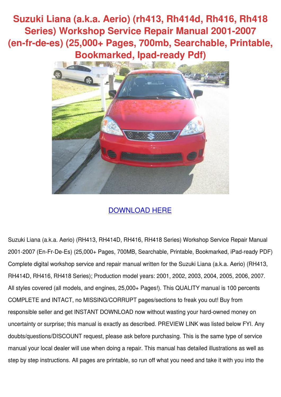 Suzuki Liana Aka Aerio Rh413 Rh414d Rh416 Rh4 by MilagrosMichaels - issuu
