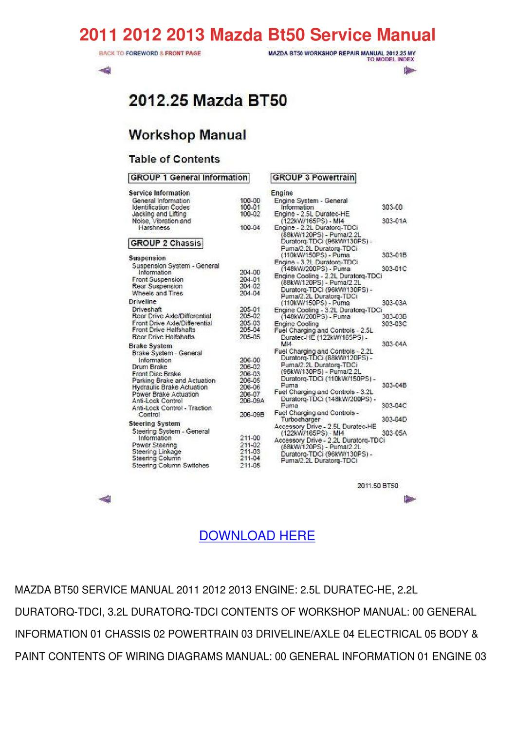 2011 2012 2013 Mazda Bt50 Service Manual by AaronWare - Issuu