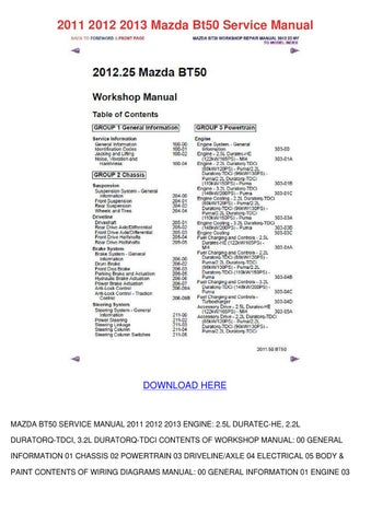2011 2012 2013 mazda bt50 service manual by aaronware issuu rh issuu com 3.0L DOHC V6 Duratec Engine Ford Duratec Engine Reliability