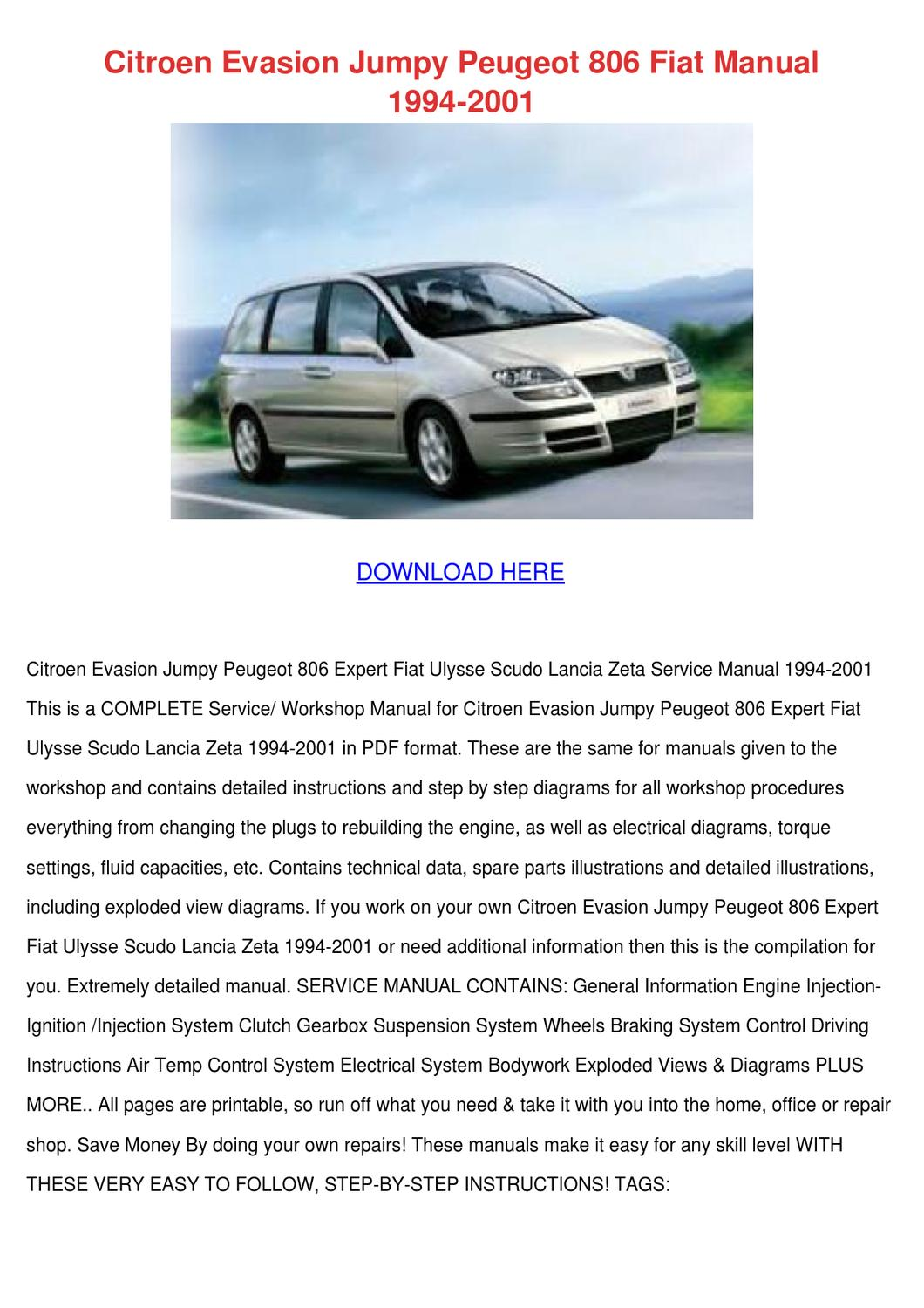 Citroen Evasion Jumpy Peugeot 806 Fiat Manual By Aaronware Issuu Ulysse Wiring Diagrams