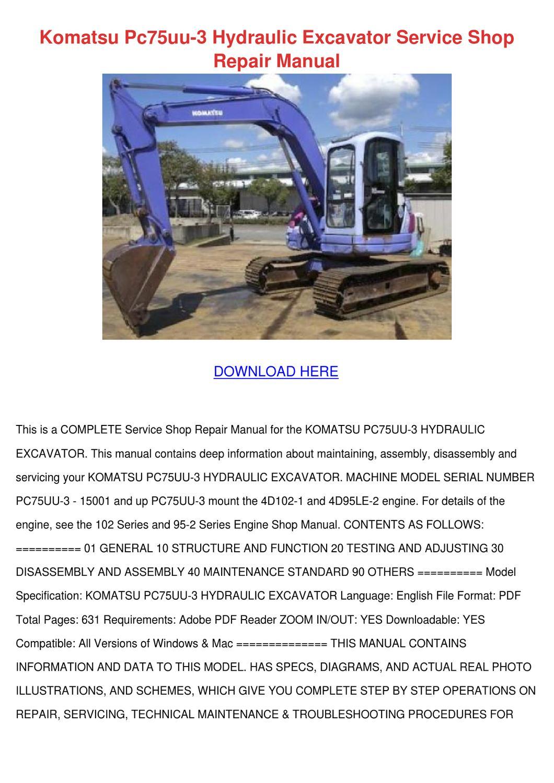 Komatsu Pc75uu 1 Wiring Diagram Library Pc78 Diagrams 3 Hydraulic Excavator Service By Celestabilodeau Issuu