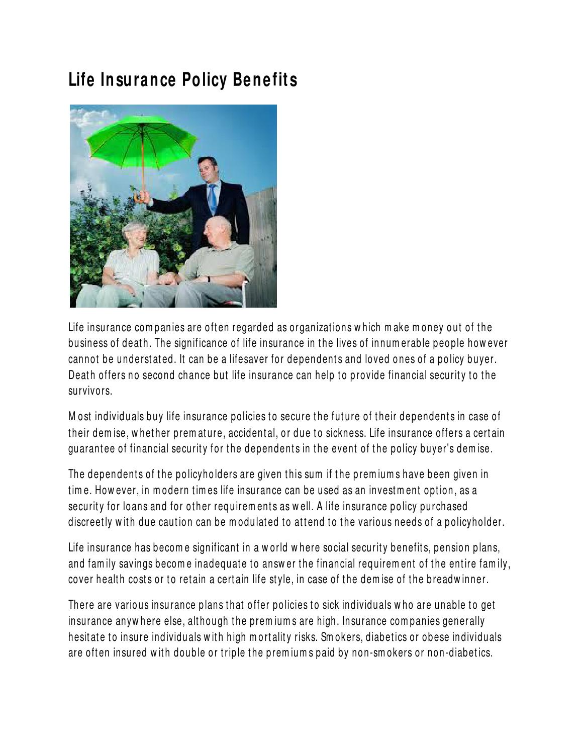 Life Insurance Policy Benefits by Hami Rabbani - Issuu