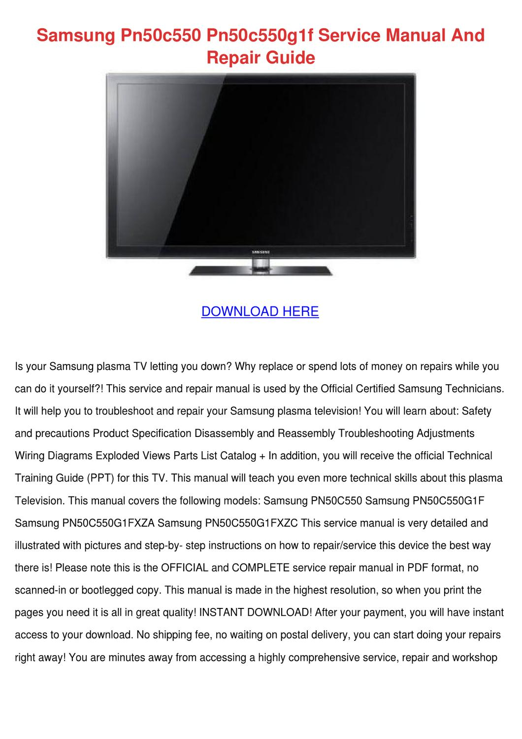 Samsung 50 Plasma Tv Wiring Diagrams Starting Know About Lcd Schematic Diagram On Pn50c550 Pn50c550g1f Service Manual A By