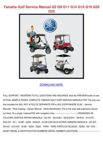 Yamaha golf cart repair service manual g2 g9 golf carts on disc.