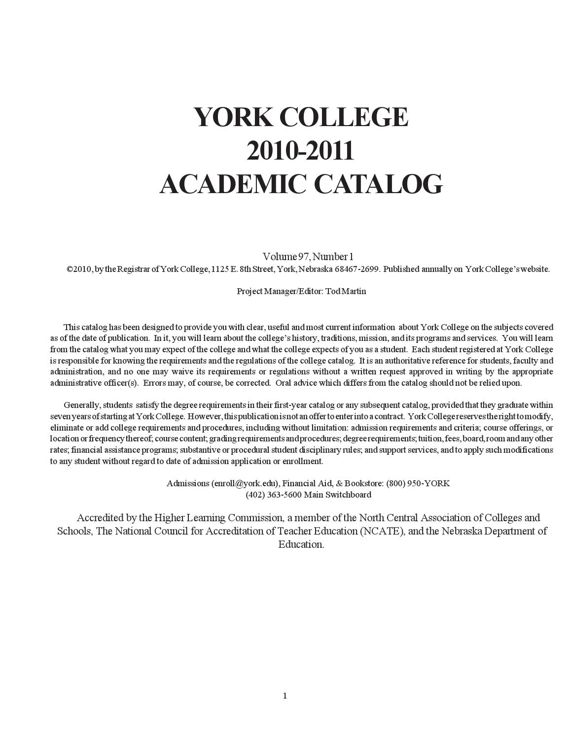 York College 2010-2011 Academic Catalog by York College - issuu