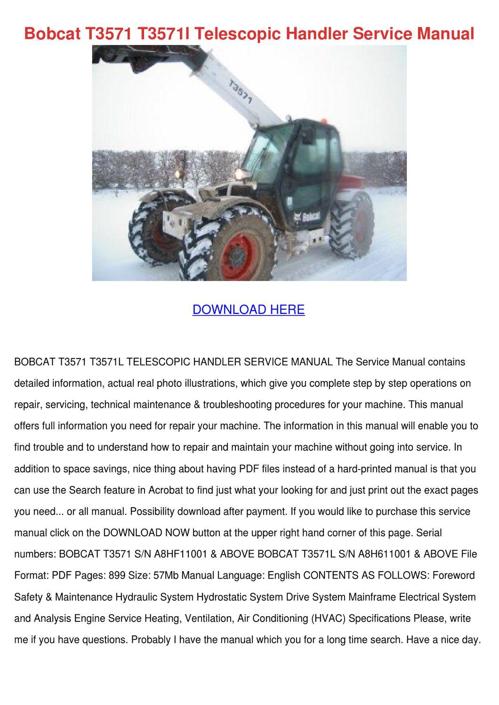 Bobcat T3571 T3571l Telescopic Handler Servic by DonnyCorbett - issuu