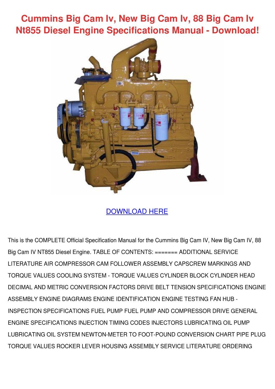 Cummins Big Cam Iv New 88 By Donnycorbett Issuu Fuel Pump Specification